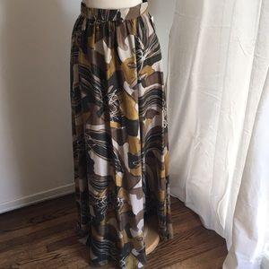 Rachel Zoe silk twill maxi skirt- olive/ochre
